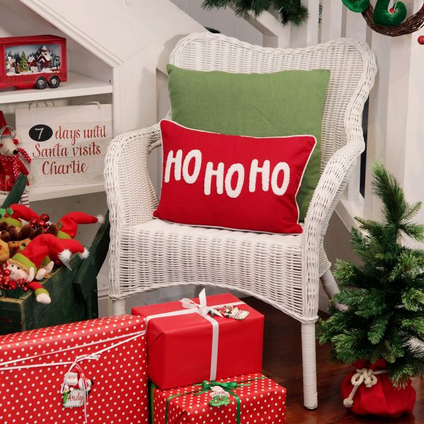 Ho Ho Ho Cushion placed in chair living room presents below, plush toys, & Christmas 7 days until Santa visits Charlie Plaque