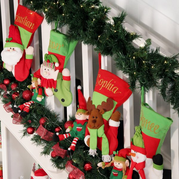 personalised 3D christmas stockings lifestyle placed in the living room staircase