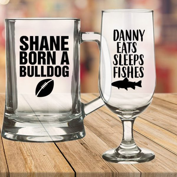 Best Secret Santa Gifts Fathers Day Beer Glasses Shane Born A bulldog and Danny Eats Sleeps Fishes Writing