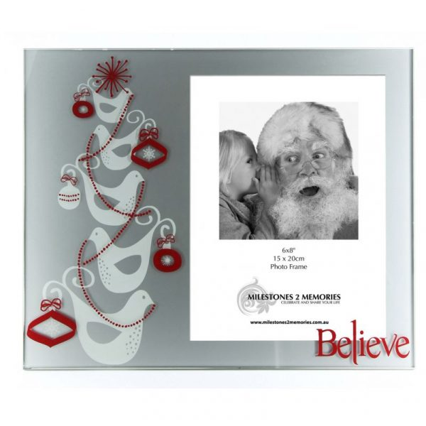 Large Glass Christmas Frame Doves Design Believe writing in red with Santa and little girl whispering to his ear