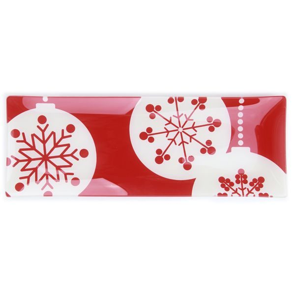 Best Secret Santa Gifts for your Workmates Glass Plate red with Bauble Design