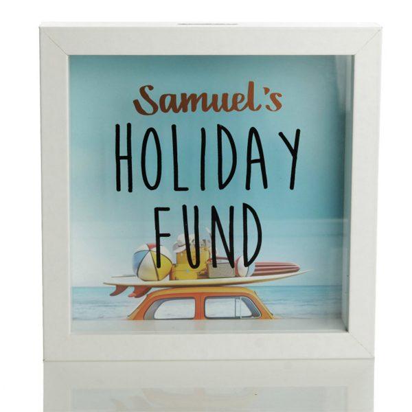 Best Secret Santa Gifts Personalised Samuel's Holiday Fund Money Box white wood