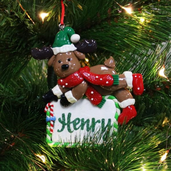 Personalised Reindeer wearing a red scarf with green glitter writing Henry Plaque Decor Hanging on a Christmas Tree