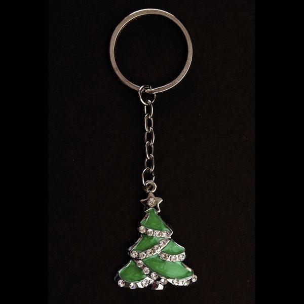 Pewter Christmas Tree Keyring with black Background
