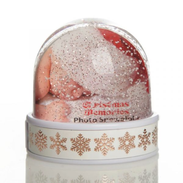 Photo Snow Dome with Rose Gold Snowflake Design Base with baby sleeping in Santa Hat