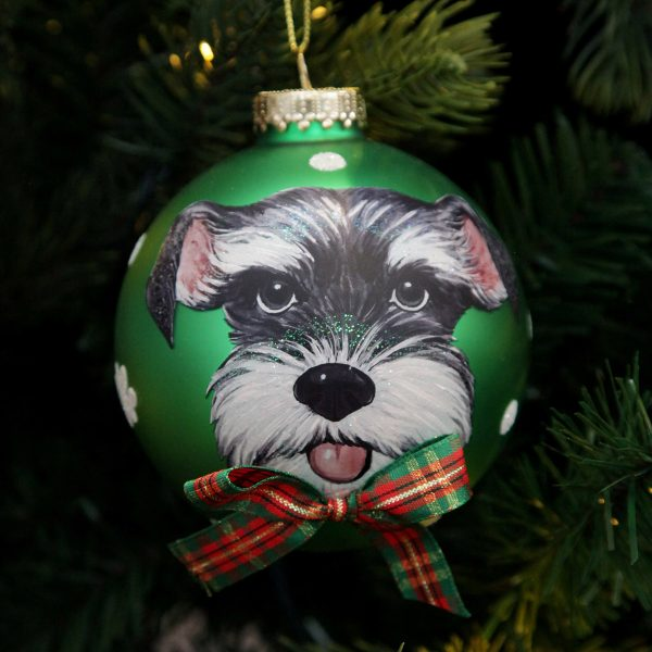 Personalised Dog with Bow Tie Green Christmas Bauble hanging on tree
