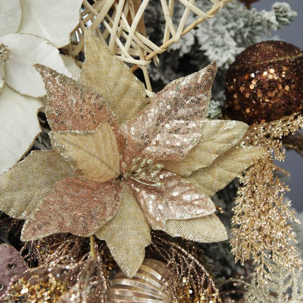 Boho Glam Christmas Champagne Burlap Sequin Flower Square Close up lifestyle Image