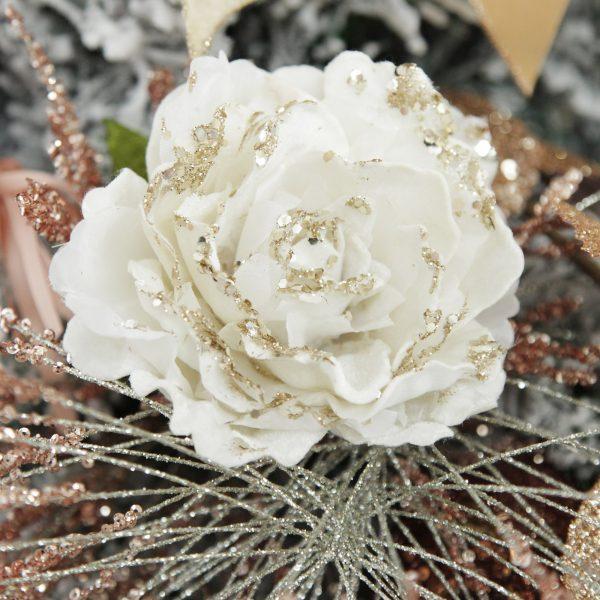 Boho Glam Christmas Ivory Peony with Sparkles Flower Clip Square Close up lifestyle Image