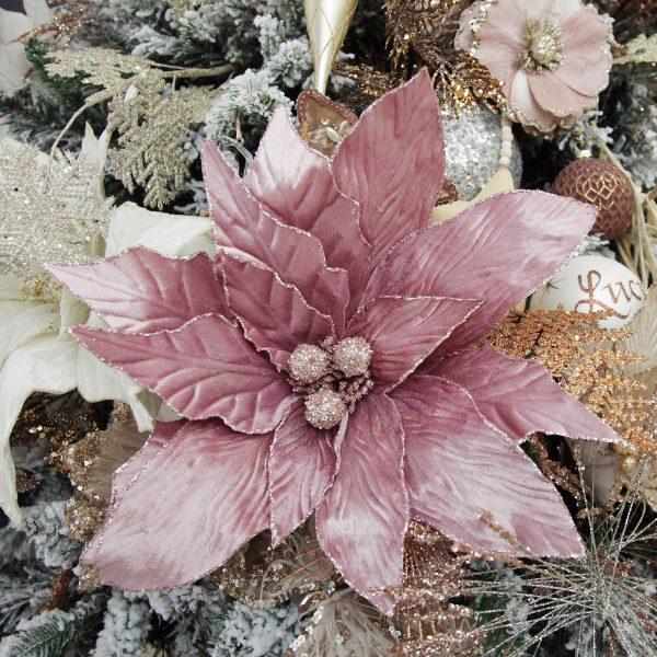 Boho Glam Christmas Large Pink Poinsettia Flower Stem with Glitter Trim Square Close up lifestyle Image