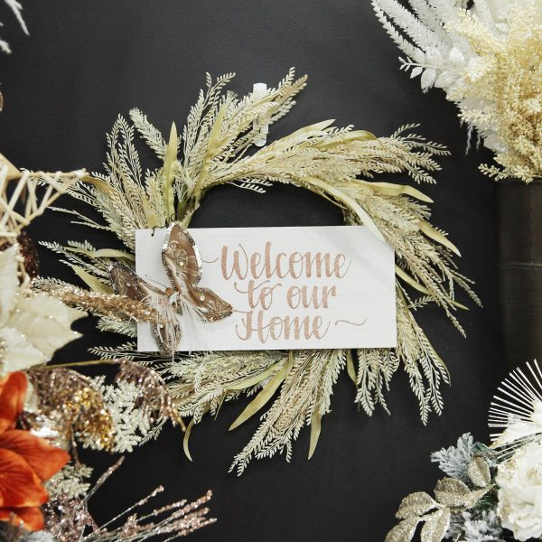 Boho Glam Christmas Natural Wheat and Leaves Christmas Wreath Butterfly Wood Plaque