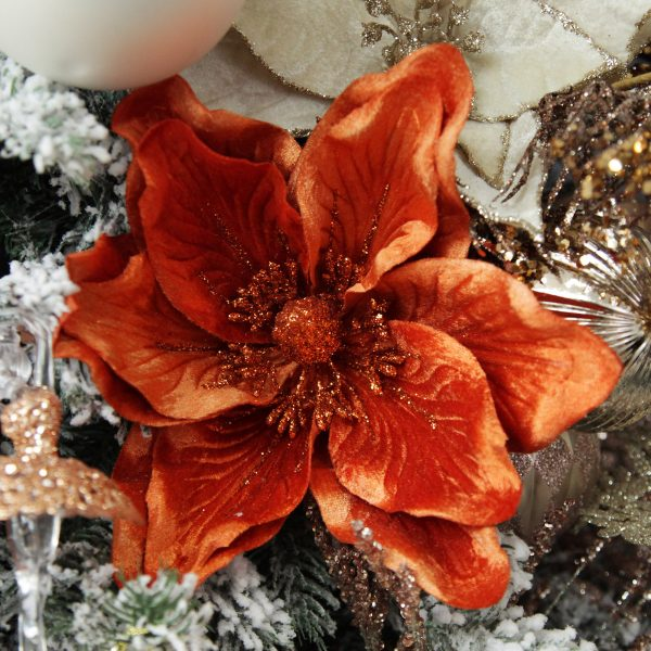 Boho Glam Christmas Rust Magnolia Flower Clip with Gold Glitter Trim Square Close up lifestyle Image