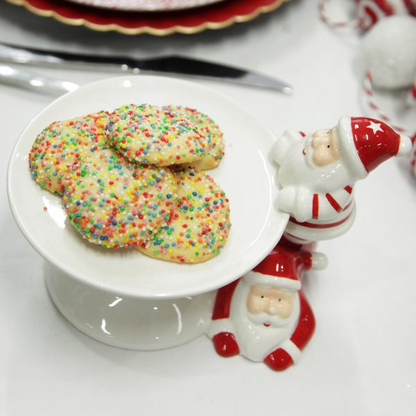 Peppermint Candy Christmas Small White Ceramic Cake Stand with Fun Santa Ornament