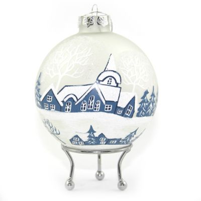 Frosted Winter Church Christmas Bauble