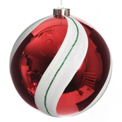Red Swirl Candy Cane Christmas Bauble