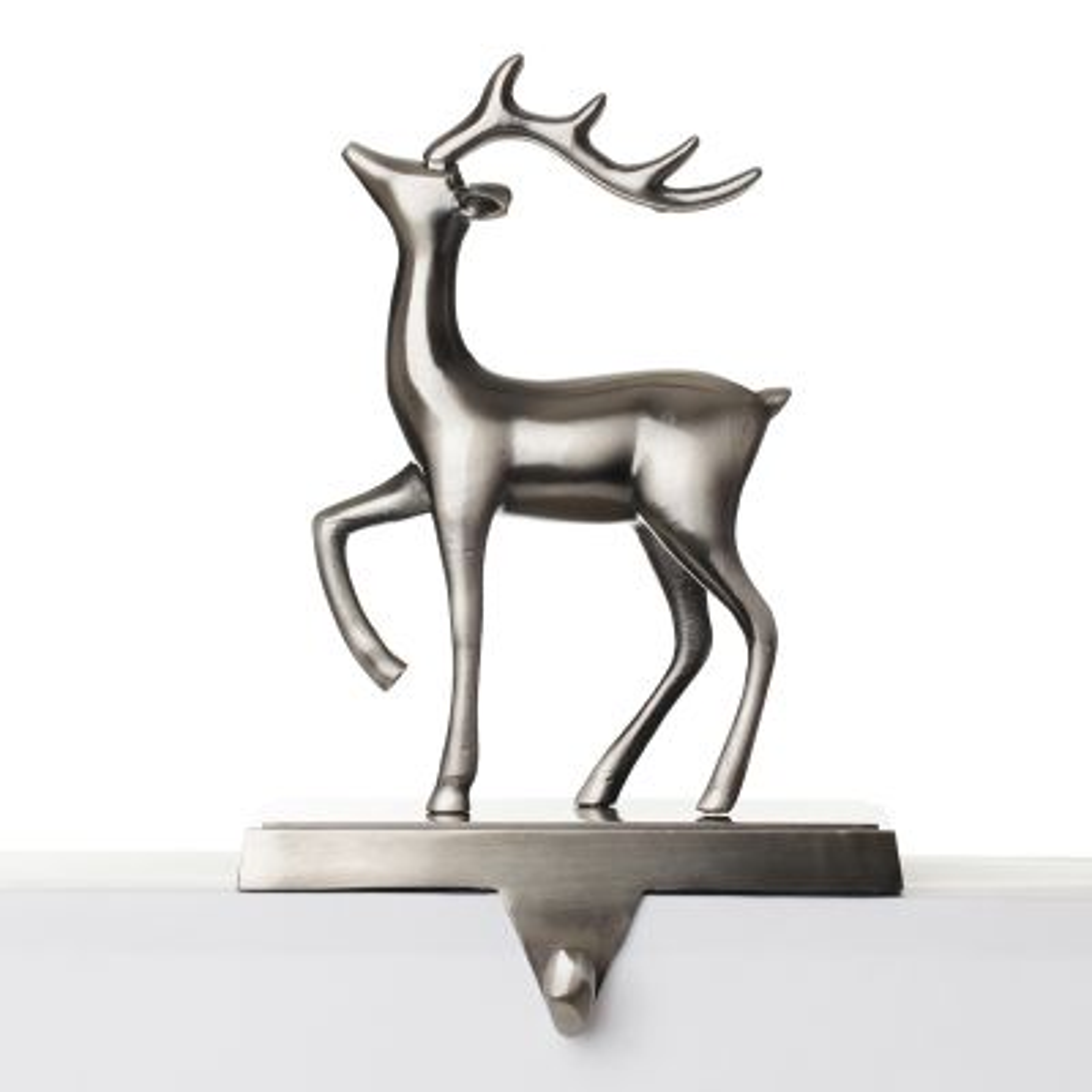 Antique Silver 3D Reindeer Stocking Hanger