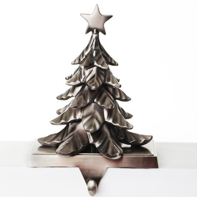 Antique Silver 3D Tree Stocking Hanger