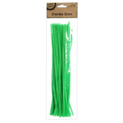 Green Chenille Stem Pipe Cleaners - Pack of 50