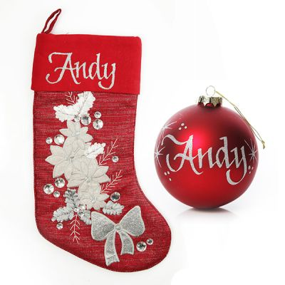 Red Poinsettia Stocking and Bauble Pack