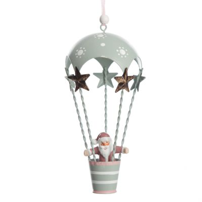Adorable Mint Parachute with Santa Hanging Tree Decoration