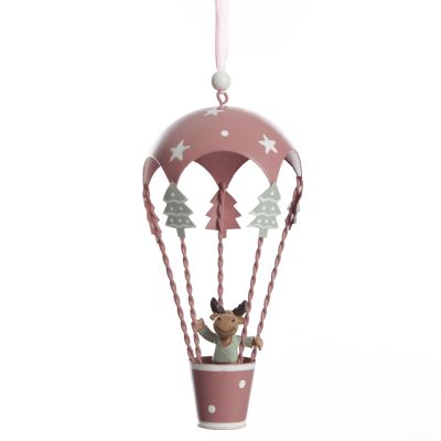 Adorable Pink Parachute with Reindeer Hanging Tree Decoration