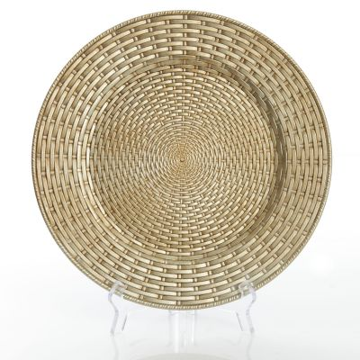 Antique Champagne Wicker Pattern Charger Plate