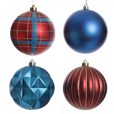 Assorted Decorative Red and Blue Shatterproof Christmas Baubles - Set of 4
