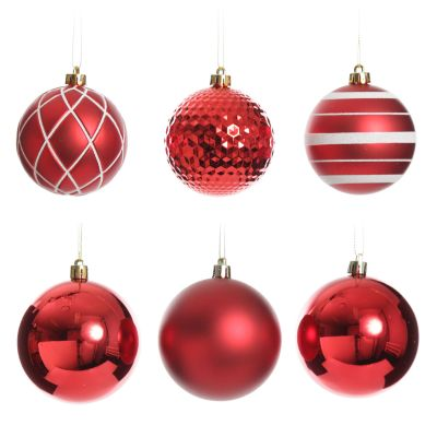 Assorted Decorative Red and White Shatterproof Christmas Baubles - Set of 6