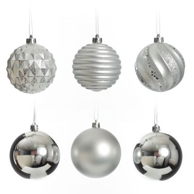 Assorted Decorative Silver Shatterproof Christmas Baubles - Set of 6