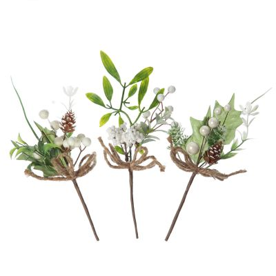 Assorted White Berry and Leaf Christmas Bouquet Pick Trio