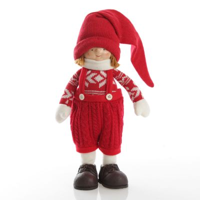 Astrid Cute Christmas Dress up Ornament in Red Overalls