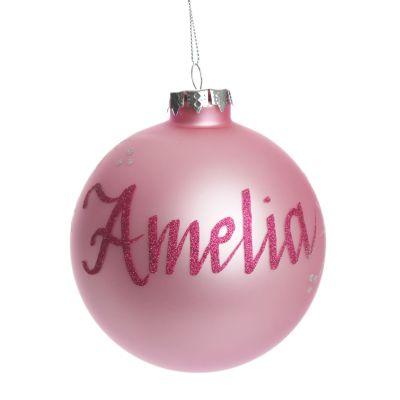Baby Pink Glass Personalised Christmas Bauble