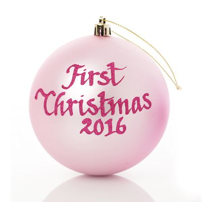 Baby Pink First Christmas Personalised Bauble