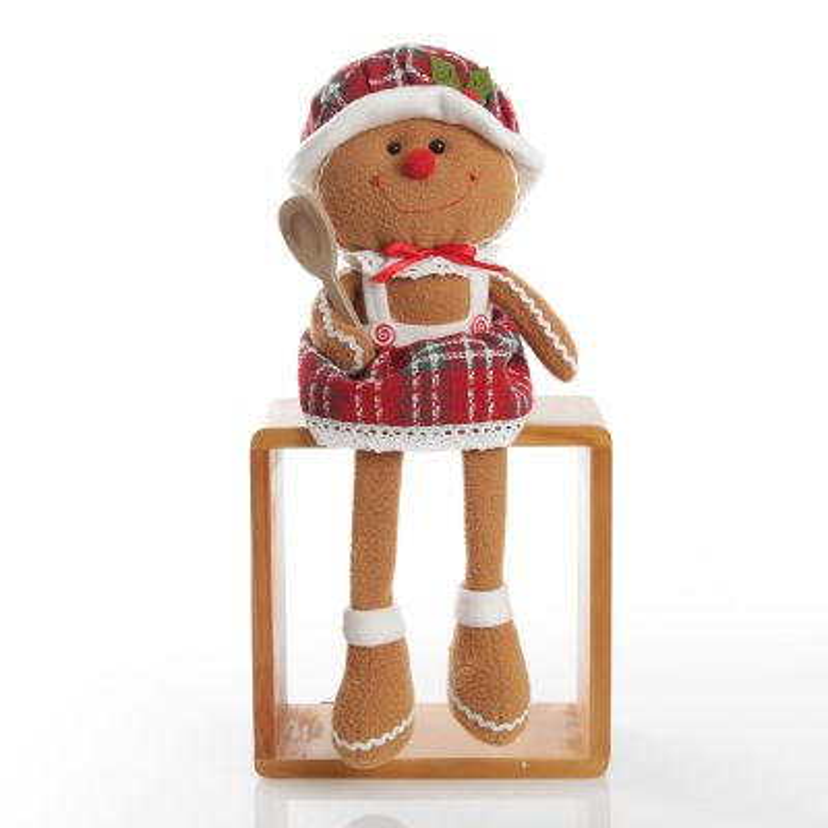 Bendable Plush Sitting Girl Gingerbread Christmas Ornament