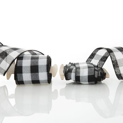 Black and White Buffalo Check Wired Ribbon - 6.4cm