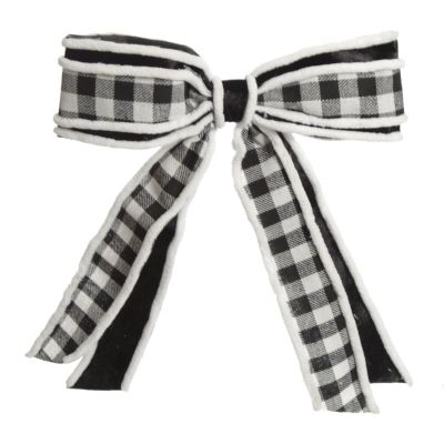 Black and White Check Christmas Bow with Fur Trim