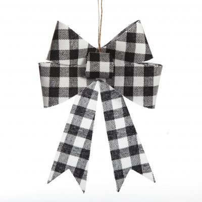 Black and White Gingham Check Bow