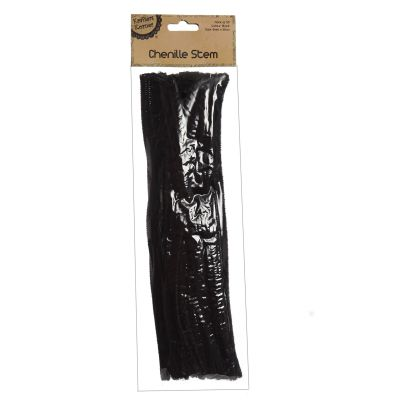 Black Chenille Stem Pipe Cleaners - Pack of 50