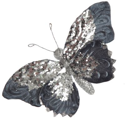 Blue Butterfly Clip with Silver Sequins