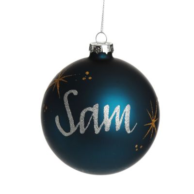Blue Glass Personalised Christmas Bauble - 10cm