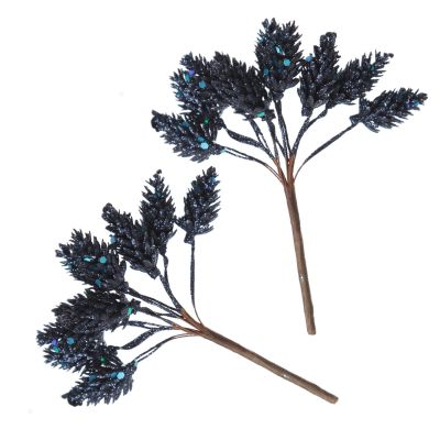 Blue Glitter Pinecone Clusters - Set of 2