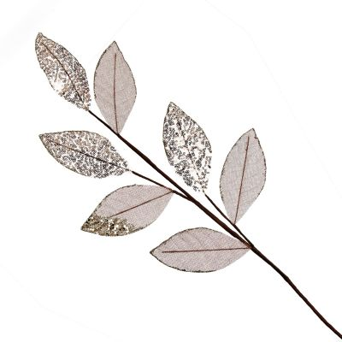 Blush Mixed Leaf Burlap Sequin Spray