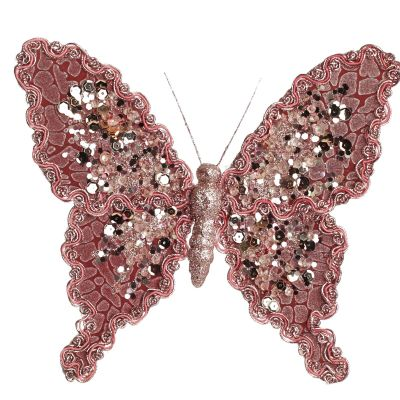 Blush Pink Butterfly Clip with Jewels and Braid - Large