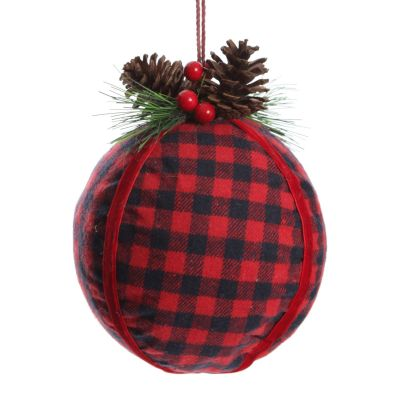 Buffalo Check Bauble with Pine and Cone Topper