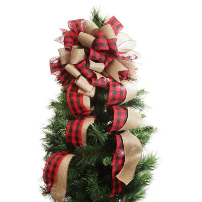 Buffalo Check Deluxe Tree Topper  Bow with Streamers