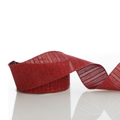 Burgundy Glitter and Linen Striped Wired Ribbon - 6.5cm