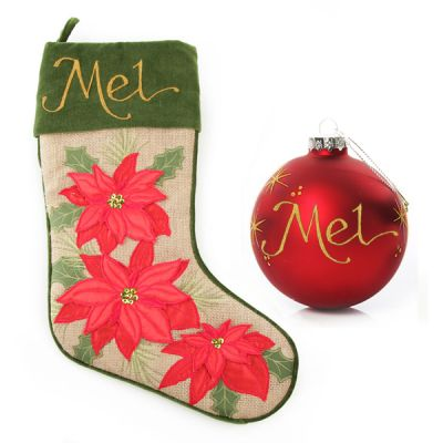 Burlap Poinsettia Stocking and Bauble Pack