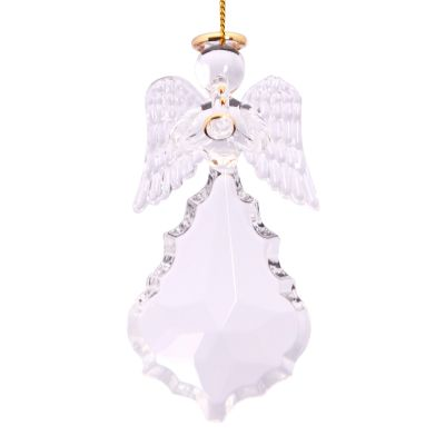 Scalloped Crystal Pendant Angel with Trumpet