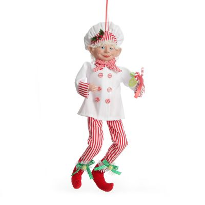 Candy Cane Chef Elf Ornament