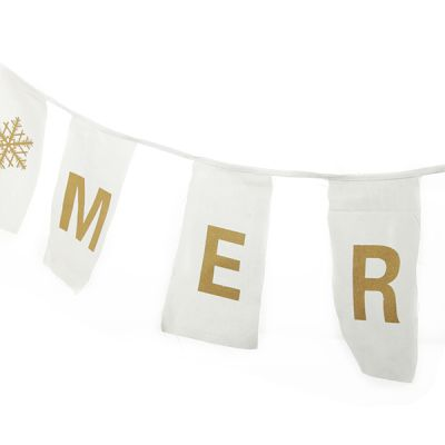 Canvas Gold Merry Christmas Printed Bunting