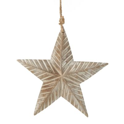 Natural Carved Wood Star Tree Decoration